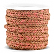 Flat braided waxed cord Brown - red peach