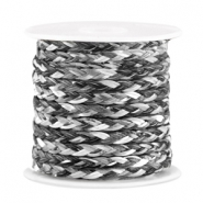Trendy flat braided waxed cord 3mm Anthracite black