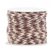 Trendy flat braided waxed cord 7mm Chocolate brown