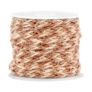 Trendy flat braided waxed cord 7mm Copper brown