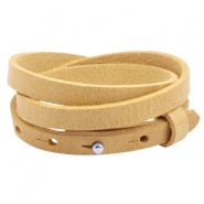 8mm triple leather Cuoio bracelets for 12mm cabochon Ochre yellow gold