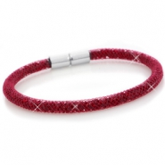 Single crystal faceted bracelet Velvet red - siam