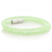 Double crystal faceted bracelet White - crysolite green crystal