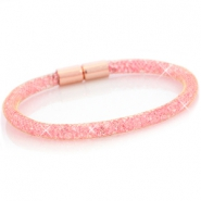 Single crystal faceted bracelet Gold - light pink