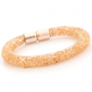 Crystal faceted bracelets Gold - peach orange crystal