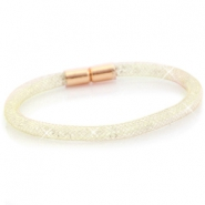 Single crystal faceted bracelet Gold - crystal