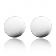 Stud earrings stainless steel cricle Silver
