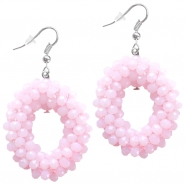 Fancy faceted beads earrings Light rose