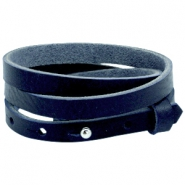 8mm Triple leather Cuoio bracelets for 12mm cabochon Deep blue