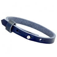 8mm Leather Cuoio bracelets for 12mm cabochon Deep blue
