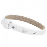 8mm Leather Cuoio bracelets for 12mm cabochon Bright white