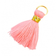 Ibiza style tassels 2cm Gold-Neon coral pink