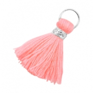 Ibiza style tassels 2cm Silver-Neon coral pink