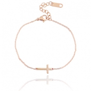 Stainless steel bracelet cross  Rose gold
