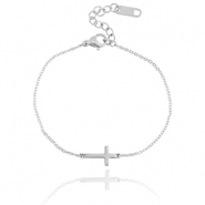 Stainless steel bracelet cross  Silver