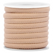 Stitched faux leather 6x4mm Cream light brown