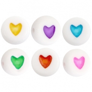 Acrylic heartshaped letterbeads Multicolor-White