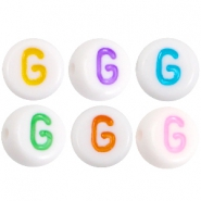 Acrylic letterbeads letter G Multicolor-White