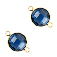 Crystal glass connectors round 6mm Denim blue-gold