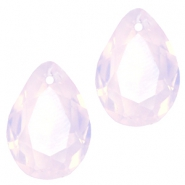 Drop shaped SQ faceted charms 10x14mm Rose water opal