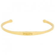 "Stainless steel bracelet with quote ""INSPIRE Gold"