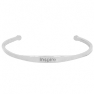 "Stainless steel bracelet with quote ""INSPIRE Silver"