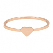 Stainless steel ring heart 18mm Rose gold