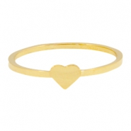 Stainless steel ring heart 17mm Gold
