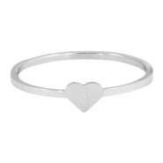Stainless steel ring heart 18mm Silver