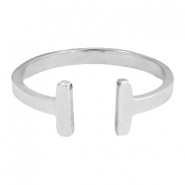 Stainless steel ring double bar 17mm Silver