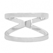 Stainless steel double ring 18mm Silver