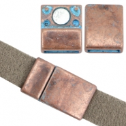 DQ metal findings magnetic clasp Ø10x2.2mm Copper blue patina (nickel free)