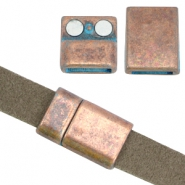 DQ findings magnetic clasp (for 10mm flat DQ leather) Copper blue patina (nickel free)