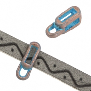 DQ rectangle sliders with loop (for 5mm flat leather) Copper blue patina nickel free)