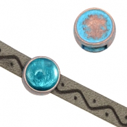 DQ sliders setting for SS34 flatback chatons and 7mm cabochon (for 5mm flat leather) Copper blue platinum (nickel free)
