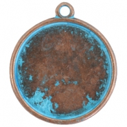 DQ setting with 1 loop for 35mm cabochon Copper blue patina (nickel free)