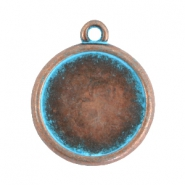 DQ setting with 1 loop for 20mm cabochon Copper blue patina (nickel free)