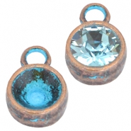 DQ metal settings one loop for SS39 chaton Copper blue patina nickel free)