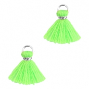 Ibiza style small tassels Silver-Neon green