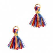 Ibiza style small tassels Gold-Multicolor red blue