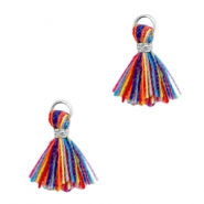 Ibiza style small tassels Silver-Multicolor red blue