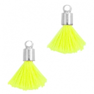 Ibiza style small tassels with end caps Silver-Neon yellow