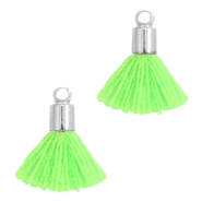 Ibiza style small tassels with end caps Silver-Neon green