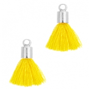 Ibiza style small tassels with end caps Silver-Mimosa yellow