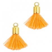 Ibiza style small tassels with end caps Gold-Coral orange