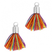 Ibiza style small tassels with end caps Silver-Multicolor red yellow