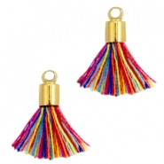 Ibiza style small tassels with end caps Gold-Multicolor red blue