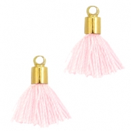 Ibiza style small tassels with end caps Gold-light rose