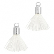 Ibiza style small tassels with end caps Silver-White