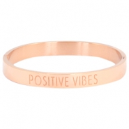 "Stainless steel bracelet with quote ""POSITIVE VIBES"" Rose gold"